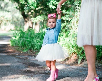 Girl's Tulle Skirt- ivory tutu- birthday skirt- toddler tulle skirt