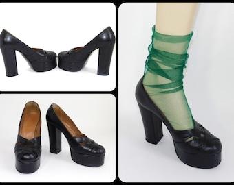 Uk 6~Gorgeous Rare Genuine 70s Platform Soft Black Leather Shoes-Made in England-Size UK6 = US Women's 8