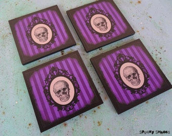 Ultra Violet Gothic skulls coasters - set of 4 coasters- purple drink coasters, Victorian Gothic decor, goth, gift for her, cameo,stripes