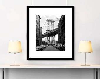 New York Photography, Black and White, Manhattan Bridge, New York City, New York Art, NYC, Architecture, NYC Print