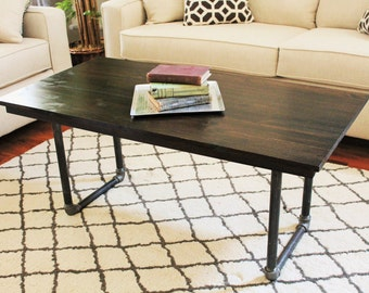 """Steel and Pine Wood Coffee Table - 48""""L x 24""""w x 22""""h"""