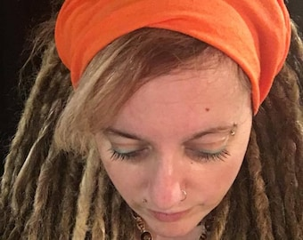 Orange headband, nature collection, Dreadlocks, dread wrap, dread tube, Tam, hat for Dreads, hippie, Bohemian, yoga, zen, boho, vegan
