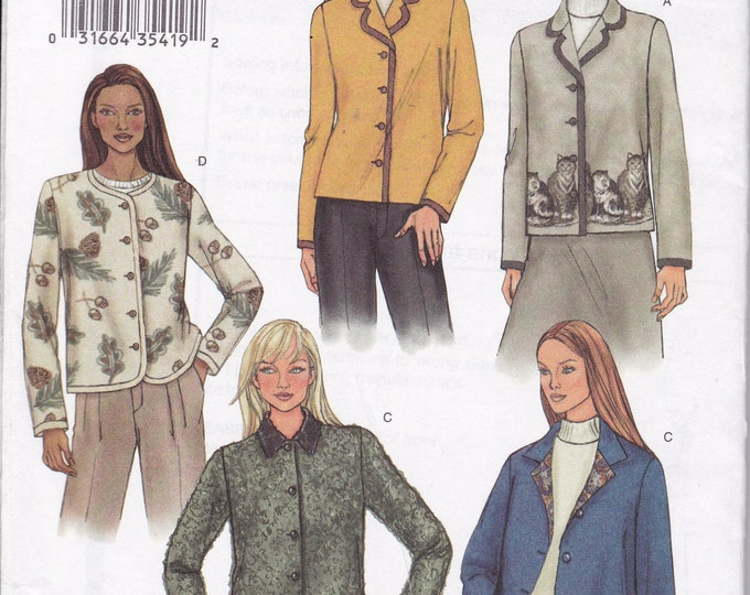 FREE US SHIP Butterick 3573 Jacket Collar Variations Panel Prints Dress Size 8 10 12 Bust 30 31 32 Sewing Pattern Factory Folded