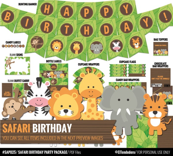 Safari Birthday Decorations Package Printable Jungle Theme