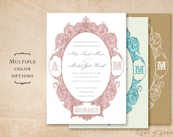 Printable 5x7 Wedding Invitation - Antique Oval Frame - Ornate Victorian Art Nouveau Customized DIY - Pink Blush Gray Aqua Ivory Gold White