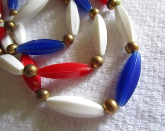 Vintage Red White and Blue Long Necklace Vintage Long Necklace Patriotic or Nautical Style Vintage Jewelry