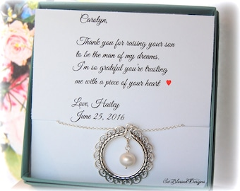 Mother of the Groom jewelry, Mother in law gift from Bride, Card for future Mother in Law, Thank you for raising man of my dreams