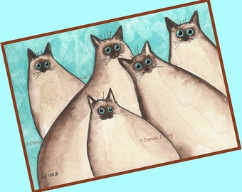 Five Silly Siamese Kittes Cat Art Print Siamese Cat Art Gift Siamese Cat Lover Gift Siamese Cat Lover Gift Cat Decor Cat ACEO Siamese Gift