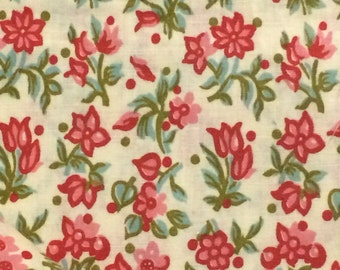 Cotton Fabric / Floral Cotton Fabric / Yellow Floral Cotton Fabric / Vintage Fabric / Vintage Floral Cotton Fabric / 36 Width