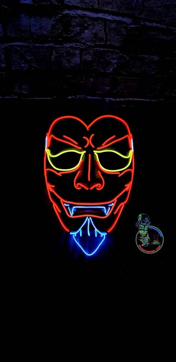 RED DEVIL Demon Licht bis Maske-15 Ft EL-Wire Led Satan