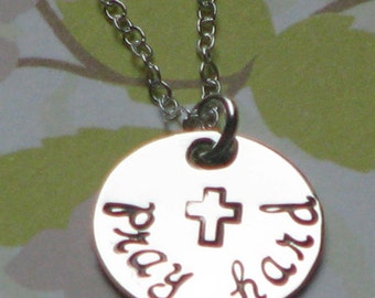 PRAY HARD, hand stamped sterling silver necklace
