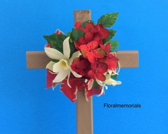 Cemetery flowers, grave decoration, memorial cross, flowered cross, Floralmemorials, grave marker, in memory of, flowers for grave