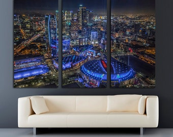 "Downtown Los Angeles Staples Center - 3 Panel Split (Triptych) Canvas print. Stretched on 1.5"" wood frames - wall decor & interior design."