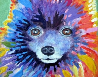 Custom Dog Portrait painting from a photo, acrylic painting on canvas, bright modern style, pet portrait or any animal