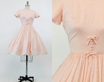 50s Cotton Pink Dress XS / 1950s Vintage Full Skirt Day Dress / Pixie Pink Dress