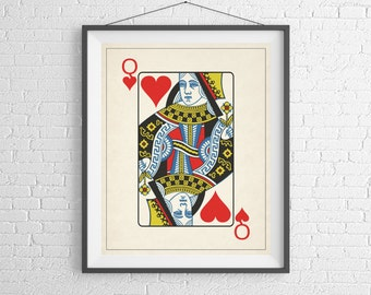Queen of Hearts, Playing Card Art, Game Room Decor, Game Room Art, Poker Gifts, Gambling Gift, Office Wall Art, Man Cave Art, Bar Decor