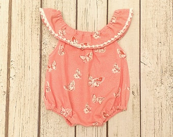 Butterfly Romper, Pom Pom Romper,  Newborn Girl Coming Home Outfit, Peach Romper, Sitter Set, Newborn Sunsuit, Baby Girl Outfit Summer