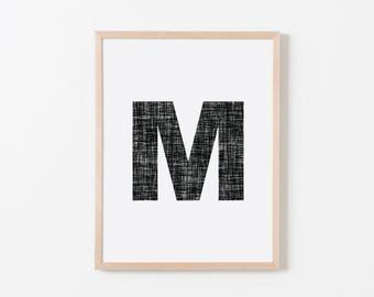 Black Texture M Nursery Art. Nursery Wall Art. Nursery Prints. Nursery Decor. Personalized Wall Art. Monogram Art. Black Letter Wall Art.