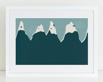 Mountains landscape wall art print. Art under 50. Graphic wall art. Winter art print. Gifts for climbers.