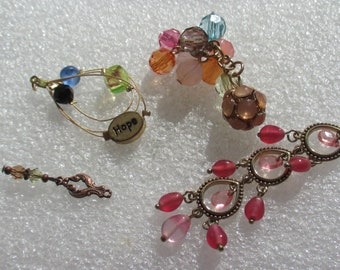 Lot Of Salvaged Colorful Beaded Dangles Pendants