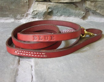Custom Made 5 by 1/2  Leather Dog Lead FREE Name Personalized Leash