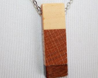 Rectangular wood pendant necklace