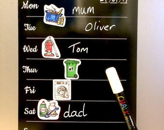 Weekly Planner, Chalk Pen Included, Magnetic Memo Board,Meal Planner, House Chore,Time Table,Fridge Magnetic Board,Wipe and Write