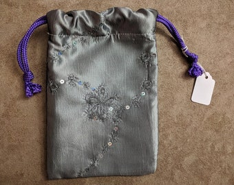 Silver Tarot Bag, Drawstring Bag, Dice Bag, Gemstone Bag, Bag of Holding