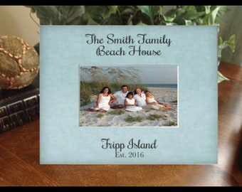 Personalized Picture Frame,  Any Message Photo Frame,  Beach House, Lake House, Mountain House Vacation Photo Frame Gift