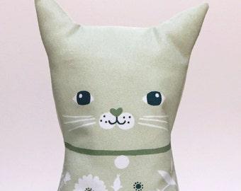 Plush Cat Doll Cushion, Green