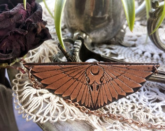 Bird Skull & Wings Necklace in copper - witch jewelry, occult necklace, crescent moon, art deco wings, minimalist geometric jewelry