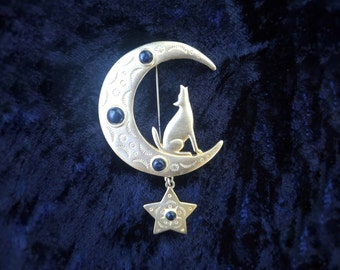 Vintage 1980's Gold Tone Howling Wolf Coyote Sitting On The Moon Brooch ~ Moon & Star Brooch ~ JJ 1988
