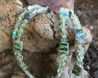Double Stranded Green Crystal & Shell Beaded Anklet