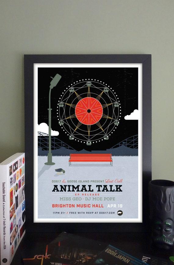 "Animal Talk Gig Poster // Brighton Music Hall, Allston, MA 13""x19"""