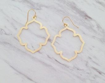 Moroccan Gold Earrings | Modern Gold Statement Earrings | Brushed Gold Boho Earrings | Simple Dainty |