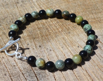 African Turquoise & Black Onyx Beaded Bracelet with Sterling Silver Toggle Clasp