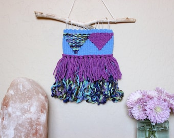 Blue Handwoven Wall Hanging - Geometric Woven Tapestry - Colorful Bohemian Decorations - Purple and Blue Wall Art - Dorm Room Decorations