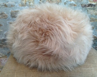 Sheepskin Pouffe/Pouf Blush Beige with a Dorset story