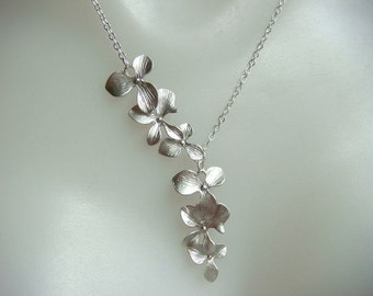 Cascading Orchid Necklace In Matte Silver - Triple Flower Necklace- Flower Cascade, Flower Petal Necklace