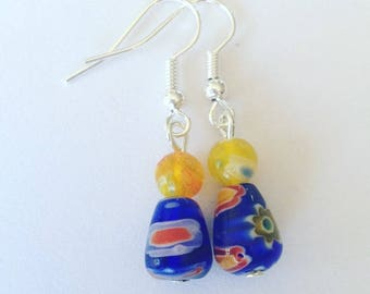 Blue And Yellow Millefiori Bead Earrings, blue earrings, flower earrings, yellow earrings , glass earrings, beaded earrings, dangle earrings
