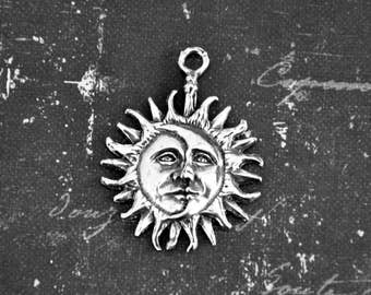 Pewter Sun + Moon Mixed Faces Pendant -- Celestial Jewelry