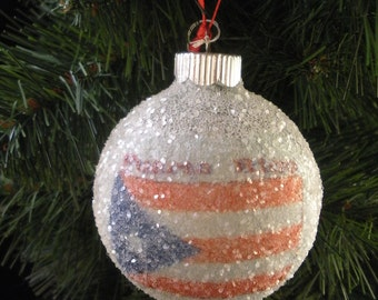 Puerto Rico Flag glass glitter ornament