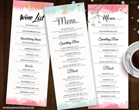 Wine list wine menu template wedding print drink menu for Wedding drink menu template free