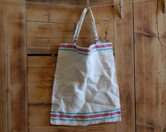 Linen Tote Bag Flax Tote Bag 100 % Flax Hand Made Natural Red White Bag