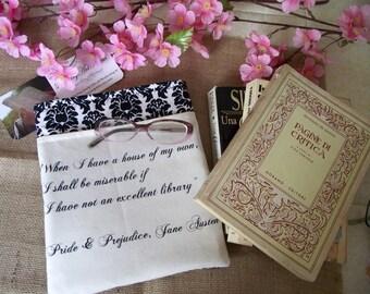 Book Sleeve Jane Austen Quote - Pride and Prejudice - Book Sleeves Book Cover Book Lover Gift Handmade Book Sleeves by LiteraryArtPrints