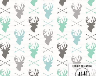 Deer and Arrow Fabric By The Yard - Winter Gray Teal Woodland Cabin Print in Yards & Fat Quarter