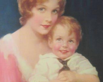 Mother &  Child - Original 1930's Calendar Art Print - 7 1/2 x 10