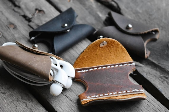 Leather Earbud Carring Case Made in ALASKA Headphones Carrier Organizer Untangler Cord USB