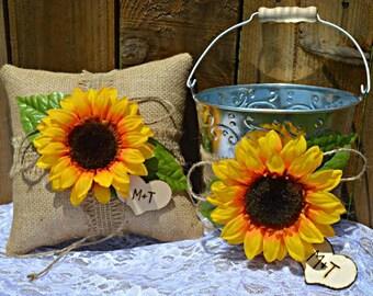 Sunflower Wedding, Sunflower Ring Pillow, Sunflower Flower Girl Basket, Sunflower Wedding Decor, Ring Bearer Pillow, Rustic Wedding Decor