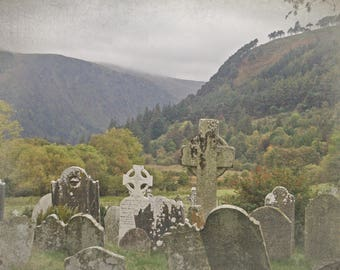 The Ancient Valley - 5x7 Postcard Print - Tombs at Glendalough, Wicklow, Ireland